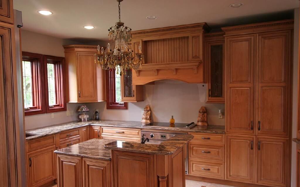 کابینت آشپزخانه با روکش طبیعی چوب